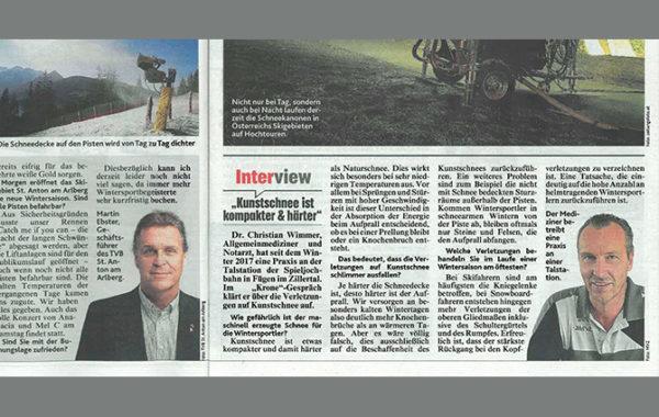 Artikel in der Tiroler Kronenzeitung